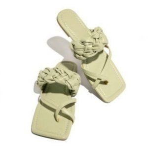 Sage Green Braided Square Toe Sandals